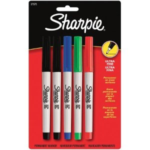 $2Sharpie Permanent Markers, Ultra Fine Point, Classic Colors, 5 Count