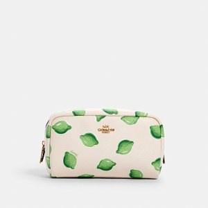 CoachSmall Boxy Cosmetic Case With Lime Print