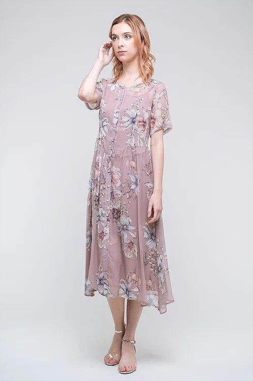 真丝淡粉色印花裙