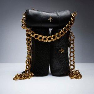 Manu Atelier100%小牛皮黑色箭头圆筒包
