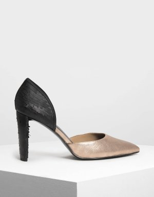 Gold Sequin D'orsay Pumps   CHARLES & KEITH US