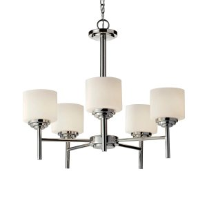 Feiss F2766/5PN Polished Nickel Malibu 5 Light Single Tier Chandelier