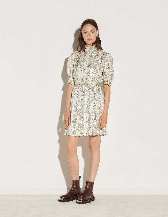 印花半高领衬衫裙