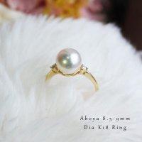 K18 Akoya 8.5-9mm 钻石戒指