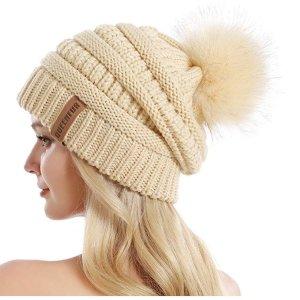低至$6.79Amazon 精选可爱保暖针织毛球帽子促销