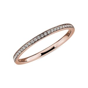 Blue NileModern Micropave Diamond Wedding Ring in 14k Rose Gold (1/10 ct. tw.) | Blue Nile
