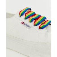 Superga 彩虹厚底小白鞋