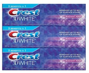 史低价 $5.66(原价$7.96)Crest 3D佳洁士超效美白牙膏100ml, 3支装