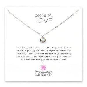 Dogearedpearls of love bezel-set pearl pendant necklace, sterling silver