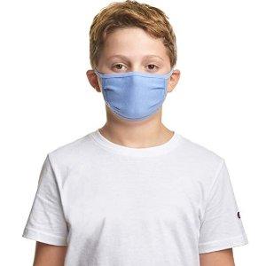 5个$16.95 折合$3.39/个Hanes 儿童三层全棉布面口罩 5色可选 舒适透气