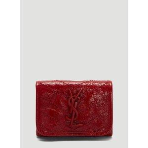 Saint LaurentNiki Compact Crinkled Vintage Leather Wallet in Red