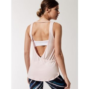 Slinky Overlapping Tank Tops in Heather Grey