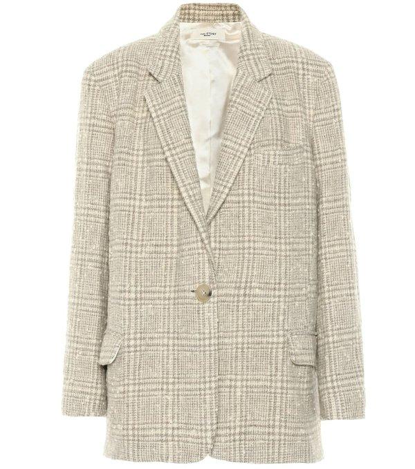 格纹西装外套