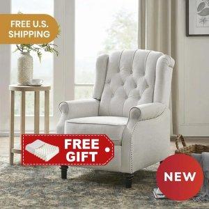 LIFEASE送天然乳胶按摩枕美式扶手推背椅 五色可选