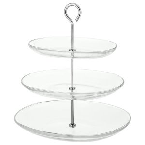 KVITTERA Serving stand, 3 tiers - clear glass, stainless steel - IKEA