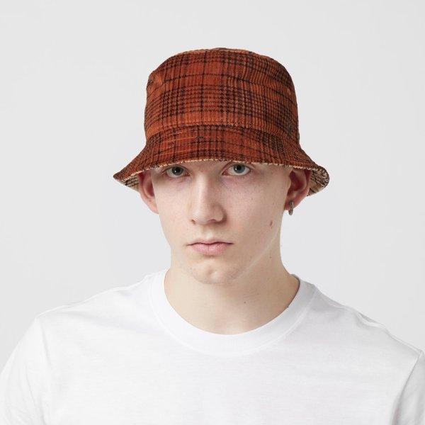 翻转双色格纹渔夫帽