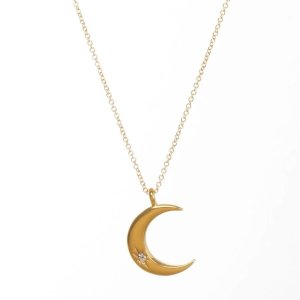 Dogearedhappy graduation 2020 crescent moon with crystal inset necklace