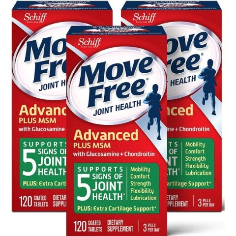 $43.47Move Free Glucosamine and chondroitin and msm Joint Health Tablets, move free (120 Count in a Bottle), Pack of 3, 360 Count