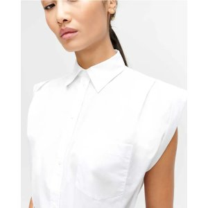 7 For All MankindSleeveless Cuffed Button-Up Shirt in Optic White