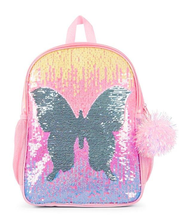 女孩闪片蝴蝶双肩包