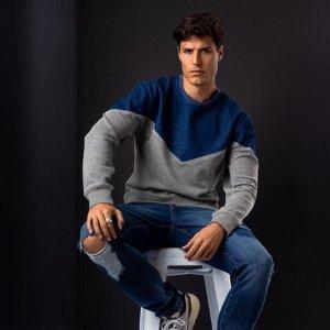 Jordache Vintage Men's Alen Yoke Pullover Sweatshirt