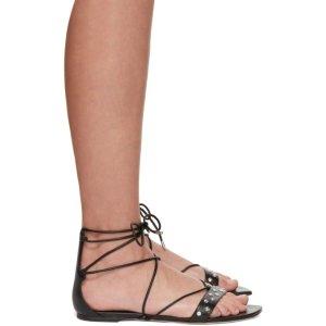 Alexander McQueen黑色系带凉鞋