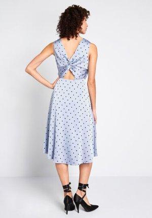 Satin-day Night Midi Dress Blue Polka Dots | ModCloth