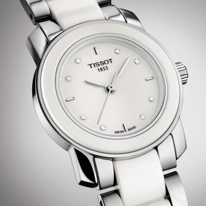 $140 (原价$595) +包邮免税史低价:TISSOT T-Trend 系列镶钻陶瓷时装女表 晒货同款