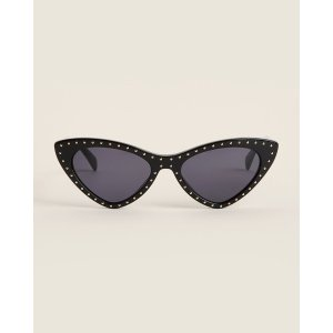 Moschino$10 OffMOS006/S Black Studded Cat Eye Sunglasses