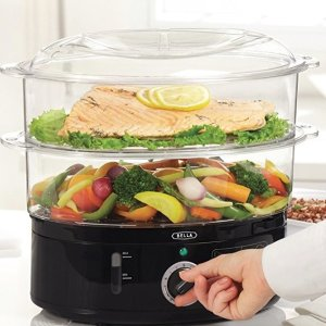 $16BELLA 7.4 Quart 2-Tier Stackable Baskets Healthy Food Steamer with Rice and Grains Tray