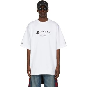 Balenciagax PS5 白色短袖T恤