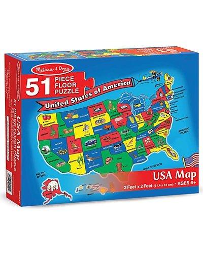 美国地图拼图,51块