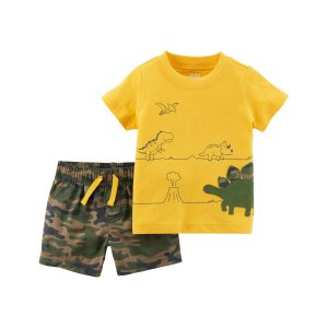 109597cc5 Child of Mine by Carter'sBaby Boy Short Sleeve Shirt & Shorts, 2pc Outfit