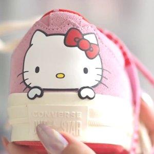 低至7折+额外7折+免邮, $32抢成人款11.11独家:Converse x Hello Kitty 合作系列抄底价, 晒单送3件SupremeT恤