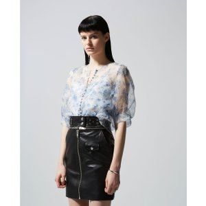 The KooplesSee-through fitted floral top with buttons
