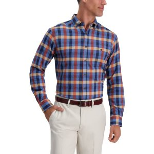 HaggarGingham Plaid Shirt