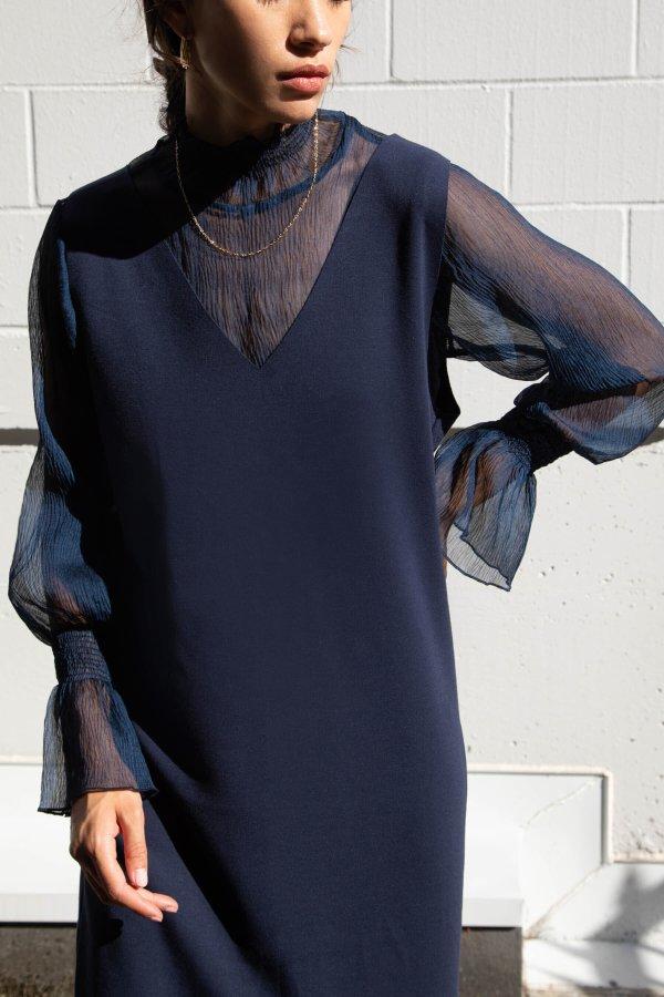 纱纱袖衬衣