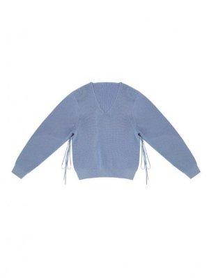 Moontan Open-Side V-Neck Knit Top _ Lavender Blue