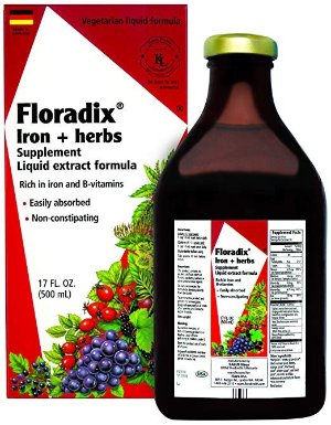 Floradix  Liquid Iron Supplement + Herbs 17 Oz Large - All Natural, Vegetarian, Vitamin C, Non Constipating - Supports Energy & Red Blood Cell...