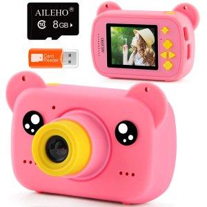 $10.77包邮 送32GB储存卡AILEHO 儿童数码相机, 可拍8百万像素照片+1080P高清视频