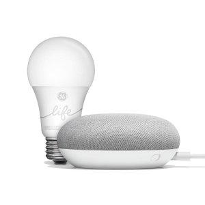 Google Mini Chalk + GE Smart Bulb