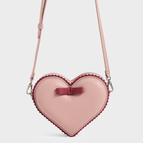 Pink Heart-Shaped Crossbody Bag