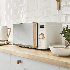 售价€134 3色可选Swan 北欧风微波炉 6个功率等级 定时功能 哑光机身+木质把手