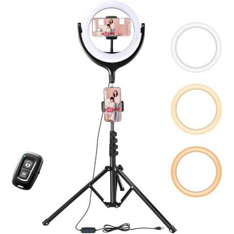 TaoTronics Ring Light with Tripod Stand 2 Phone Holders and Bluetooth Remote Shutter, 3 Lighting Modes, 10 Brightness Levels