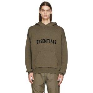 EssentialsTaupe Knit Hoodie