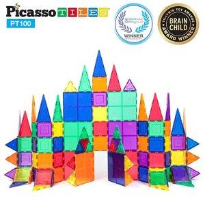 PicassoTiles透明3D磁性建筑玩具100片装