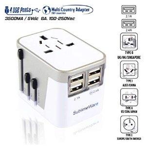 $17.09(原价$23.99)SublimeWare 电源插头适配器 国际旅行 带 USB 端口