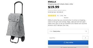 KNALLA Shopping bag with wheels - black/white  - IKEA