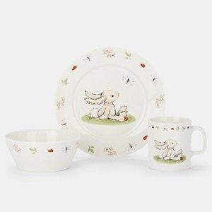 7折+额外9折+包邮Jellycat 新骨瓷餐具三件套 兔子和狗狗款可选 折后$18.9
