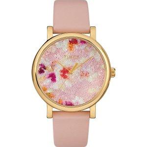 TimexCrystal Bloom with Swarovski Fabric 38mm Leather Watch | Timex